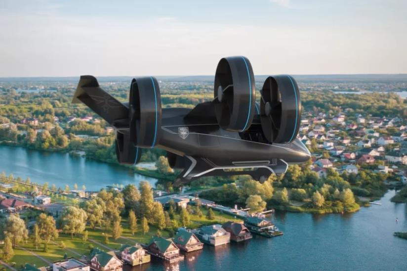 Il Taxi volante di Bell Nexus in volo sulla città