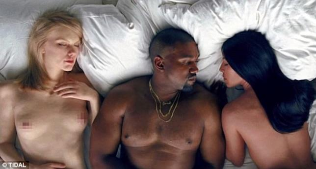Fotogramma tratto dal video Famous di Kanye West con Taylor Swift