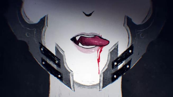 Un vampiro assetato di sangue in un artwork di Code Vein