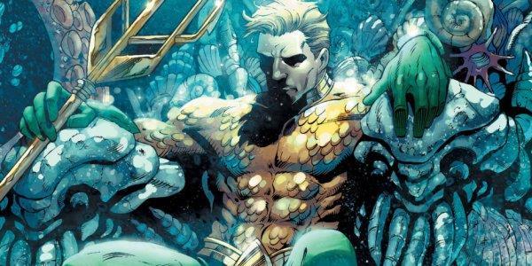Disegno di Aquaman seduto su un trono sottomarino, con un tridente in mano