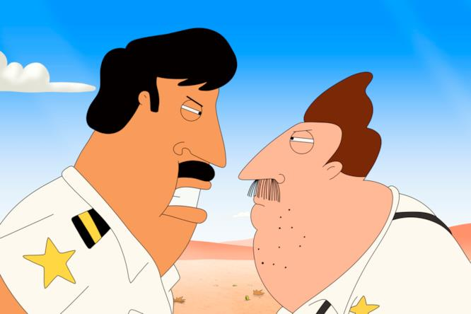 Bud e il suo capo nel quarto episodio di Bordertown