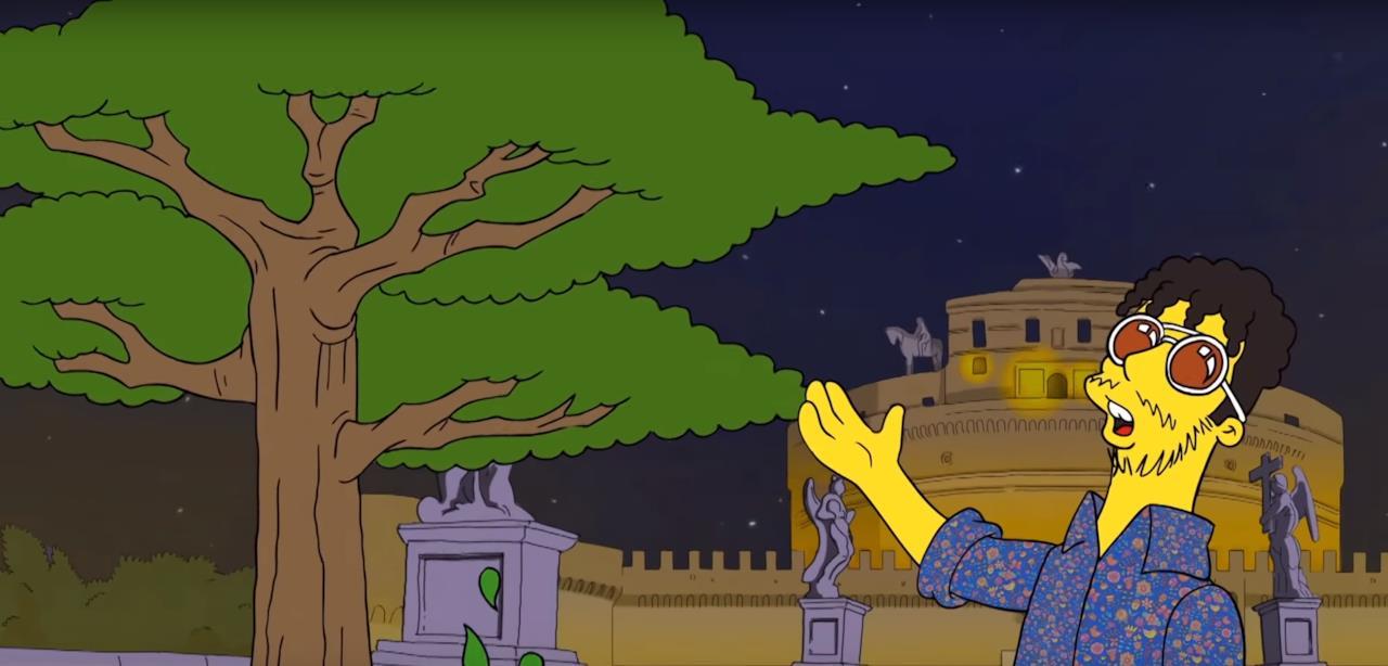 Il videoclip di carl brave con fabri fibra in stile simpson