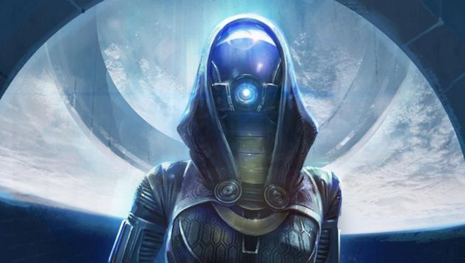 Un primo piano di Tali dalla trilogia di Mass Effect