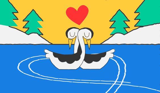 Due cigni che si incrociano e un cuore nel Doodle Google del 14 febbraio 2018
