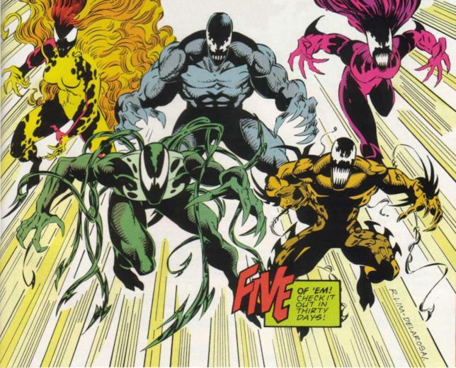 I cinque letali simbionti progenie di Venom in una tavola di Protettore Letale