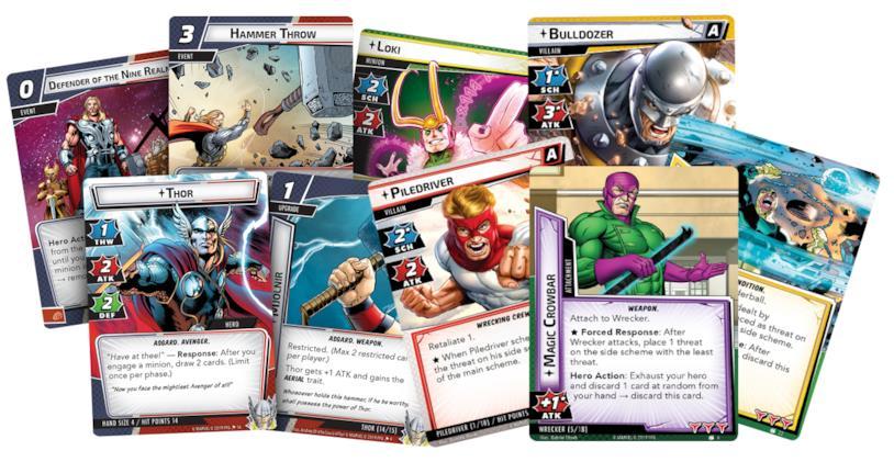 Alcune carte dei pack dedicati alla Squadra Distruttrice e a Thor di Marvel Champions