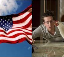 Un collage tra la bandiera americana e Una notte da leoni