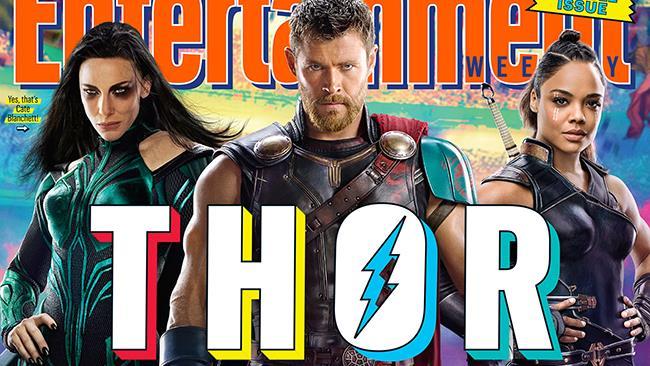 Hela, Thor e Valchiria sulla copertina di Entertainment Weekly