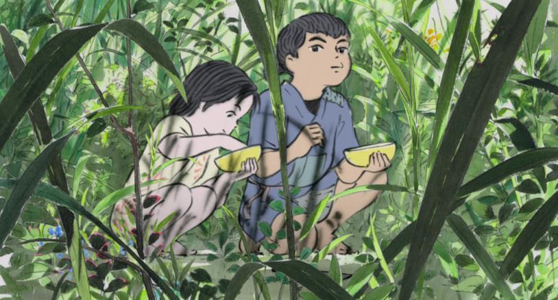 Sutemaru e la piccola Gemma di Bambù mangiano un frutto rubato tra i cespugli
