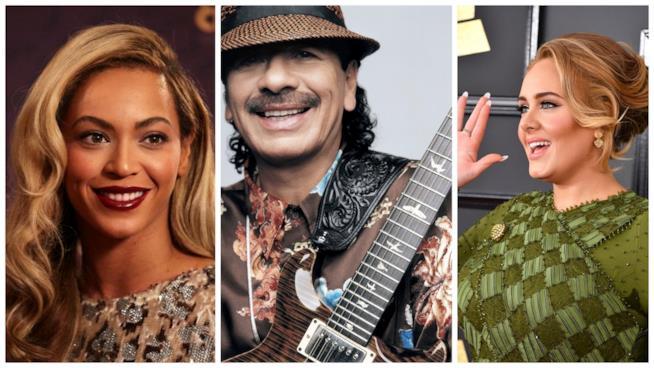 Primo piano di Carlos Santana, Adele e Beyoncé