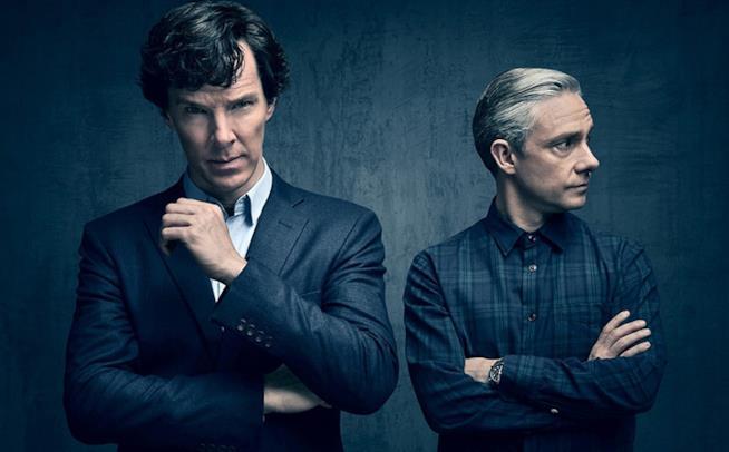 Immagine promozionale di Sherlock, con il detective e Watson