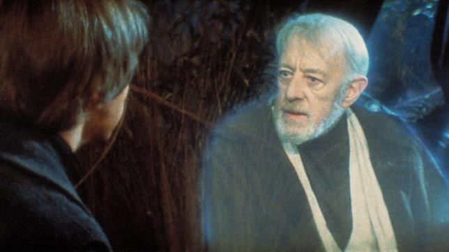 Il fantasma di Obi Wan interpretato da Alec Guinness