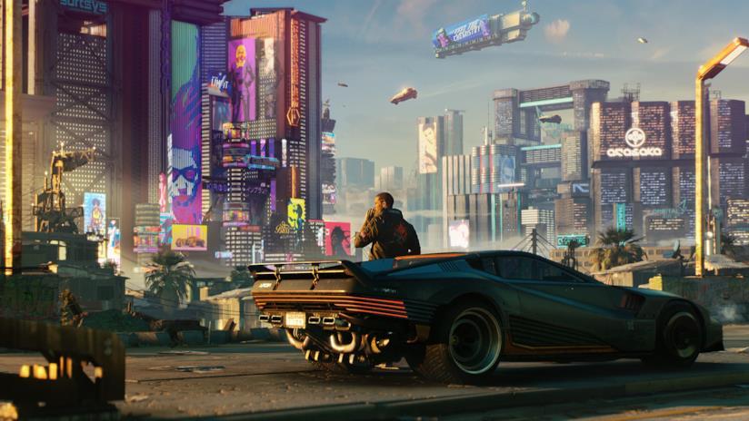 Un'immagine di Cyberpunk 2077 che mostra Night City e V