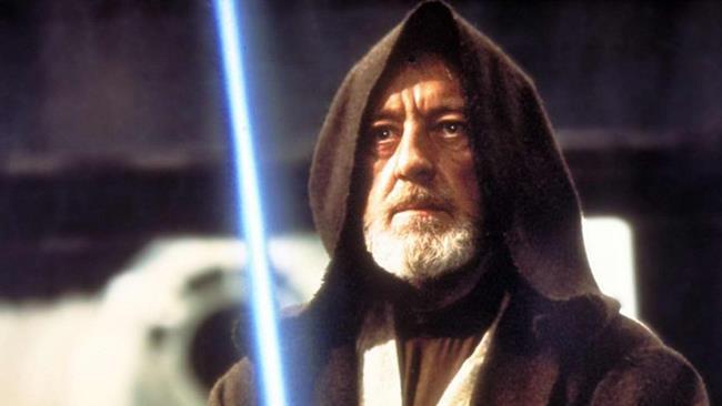 Sir Alec Guinness nei panni di Obi-Wan Kenobi nella trilogia originale