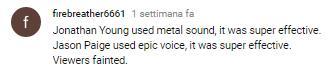 Un commento dell'utente firebreather6661 al video della rivisitazione in chiave metal della sigla della serie Pokémon di Jonathan Young
