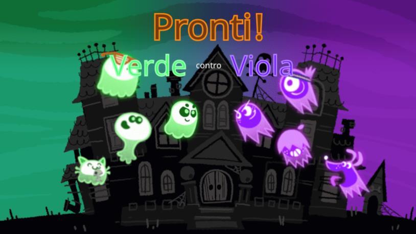 Uno screen con le squadre Verde e Viola del Doodle-gioco di Google per Halloween 2018