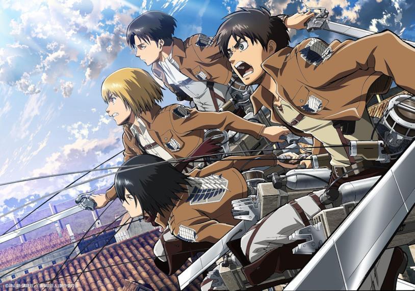 L'attacco dei giganti Eren, Mikasa, Armin, Levi