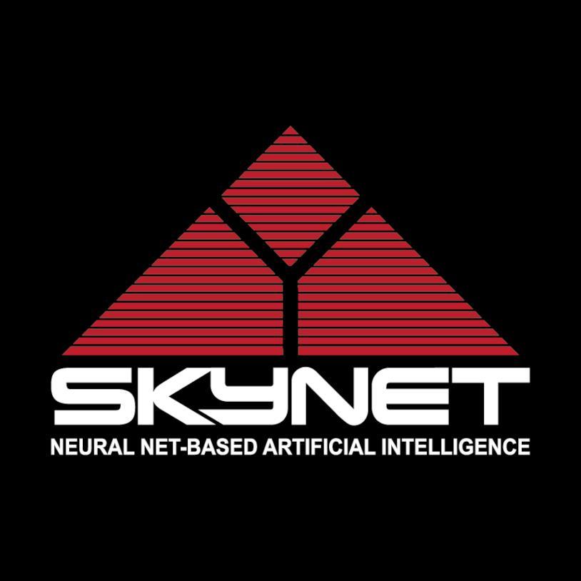 Il logo rosso di Skynet, su base nera, composto da tre immagini geometriche che compongono una piramide