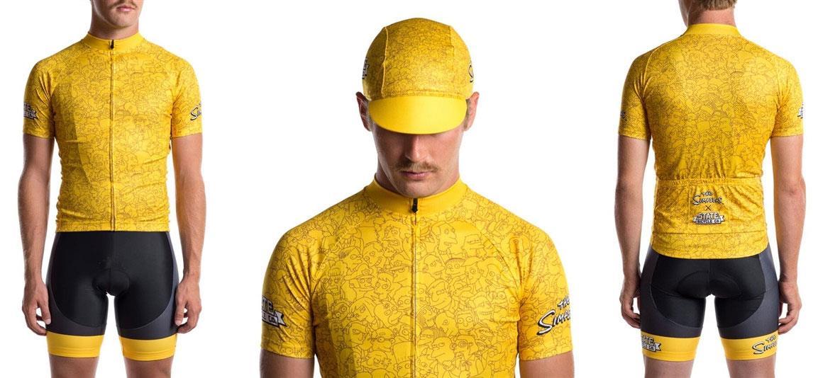 Tuta da ciclismo dei Simpson gialla coi cittadini di Springfield e cappellino a tema