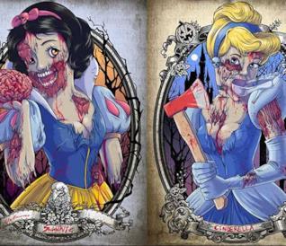 Le gallery con le fan art con protagoniste le principesse Disney zombie