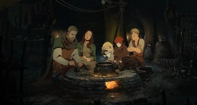I protagonisti de I Pilastri della Terra in uno scatto del videogame
