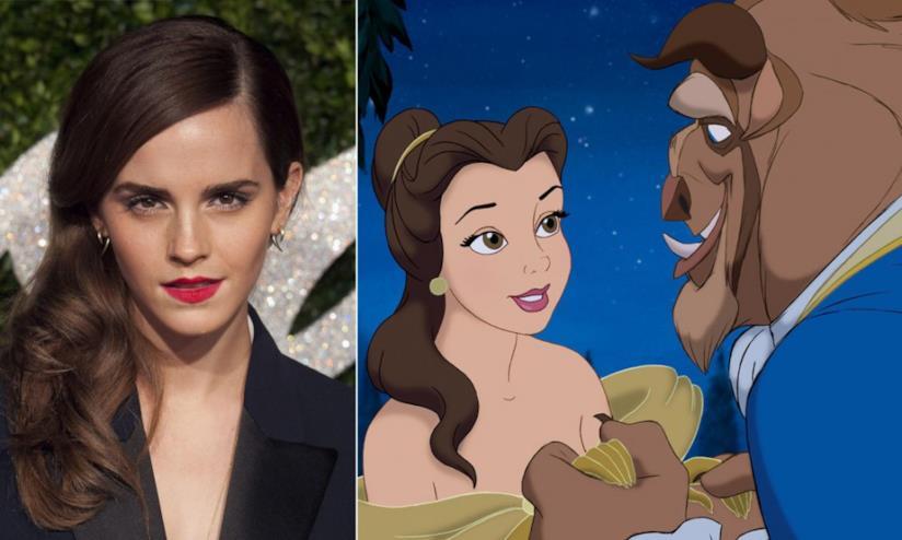 Collage tra Emma Watson e una scena de La Bella e la Bestia d'animazione
