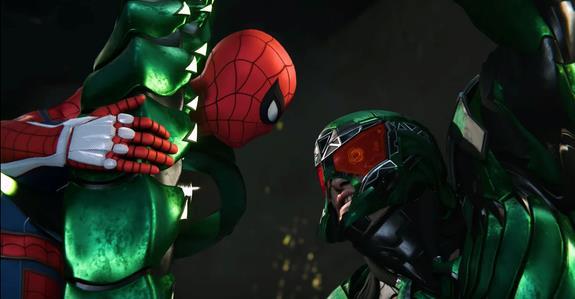 Spider-Man contro Scorpion in una scena del videogioco