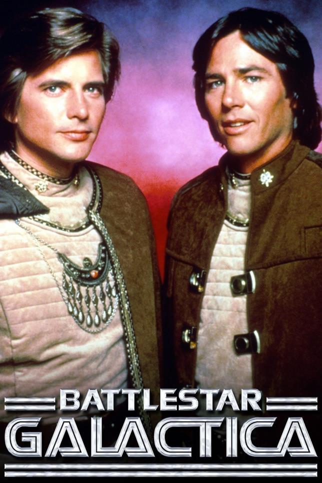 Richard Hatch e Dirk Benedict in Battlestar Galactica