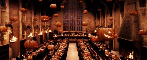 Le zucche adornano la Sala Grande di Hogwarts