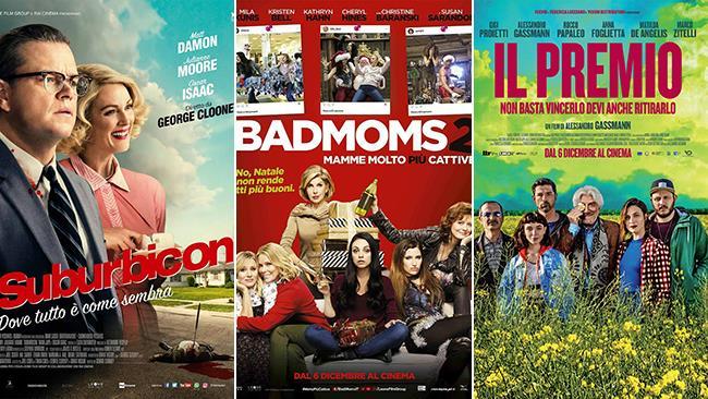 I poster dei film Suburbicon, Bad Moms 2 - Mamme Molto Più Cattive e Il Premio
