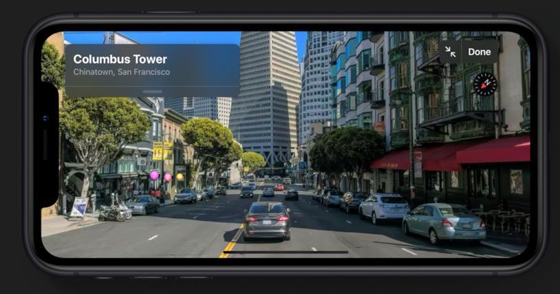 Immagine promozionale della navigazione 3D di Mappe in iOS 13
