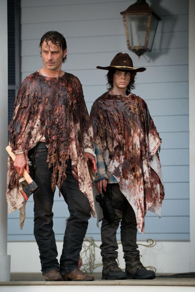 Rick e Carl Grimes in The Walking Dead, stagione 6