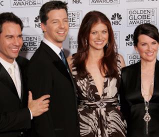Eric McCormack, Sean Hayes, Debra Messing  e Megan Mullally ai Golden Globe Awards