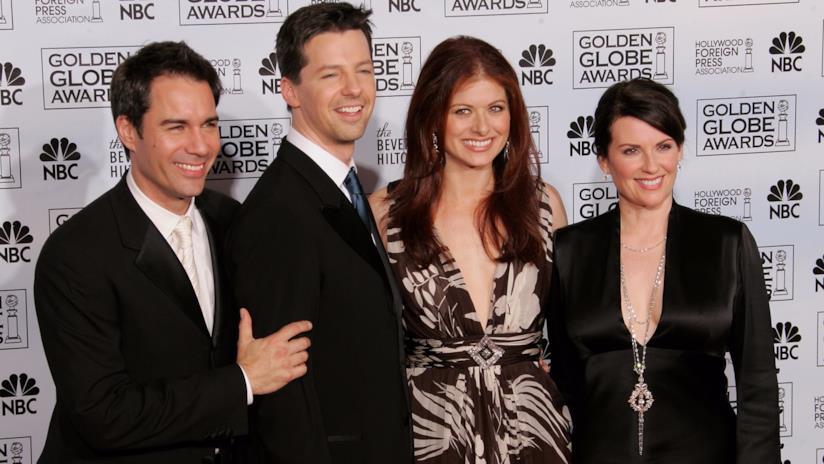 Eric McCormack, Sean Hayes, Debra Messing  e Megan Mullally ai Golden Globe Awards
