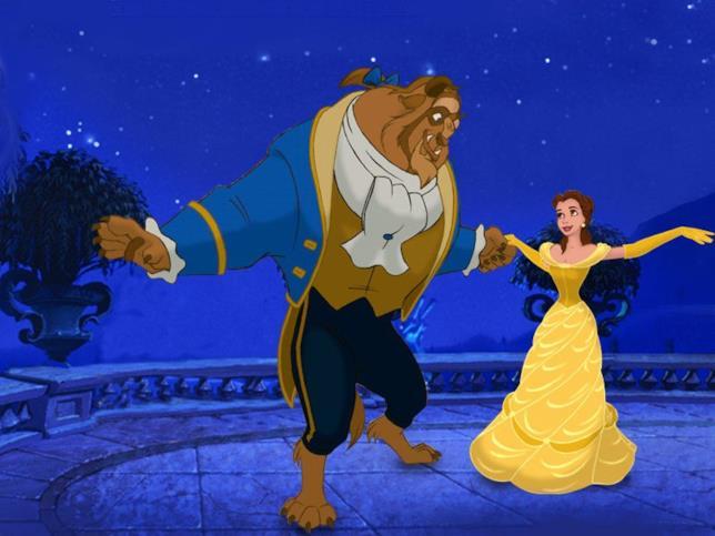 Belle e la Bestia sul terrazzo nel film del 1991 La Bella e la Bestia