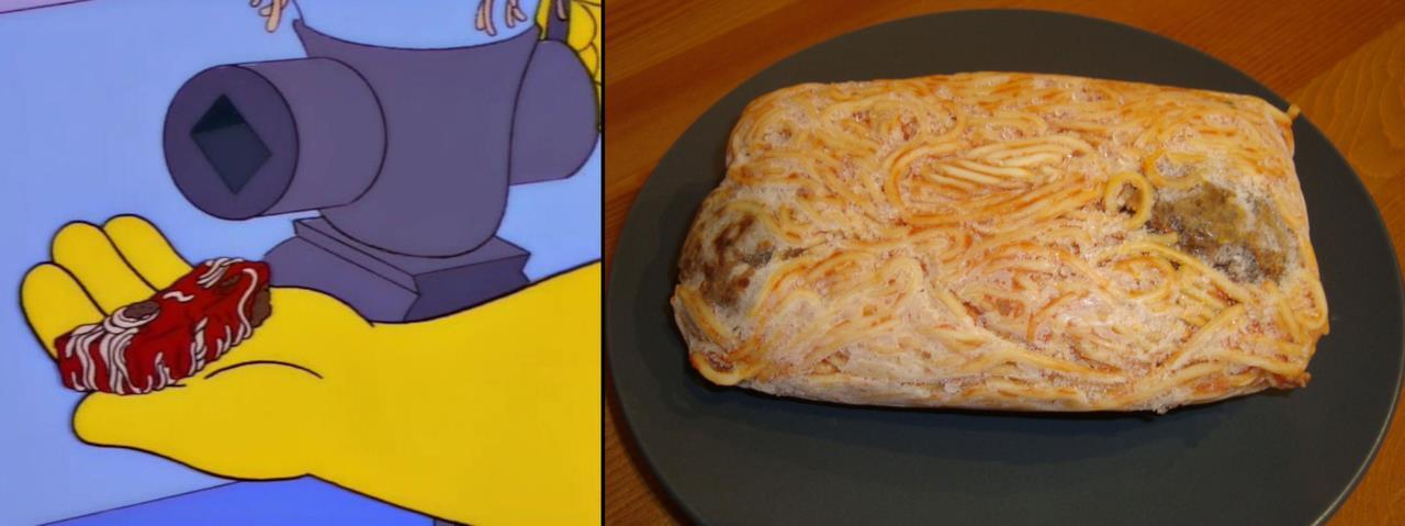 Gli spaghetti compressi di Homer ricreati nella realtà