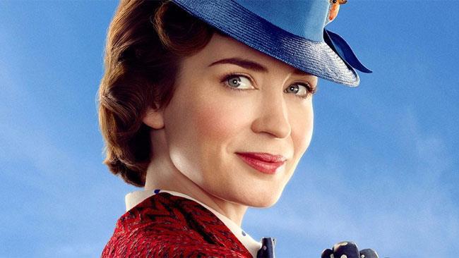 Emily Blunt nell'immagine promozionale di Mary Poppins Returns