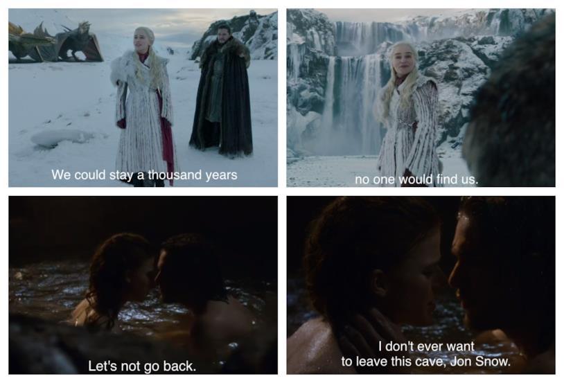 Un confronto tra le scene dedicate agli amori tra Jon e Ygritte e tra Jon e Daenerys