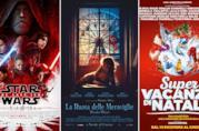 I poster dei film Star Wars: Gli Ultimi Jedi, La Ruota delle Meraviglie, Super Vacanze di Natale