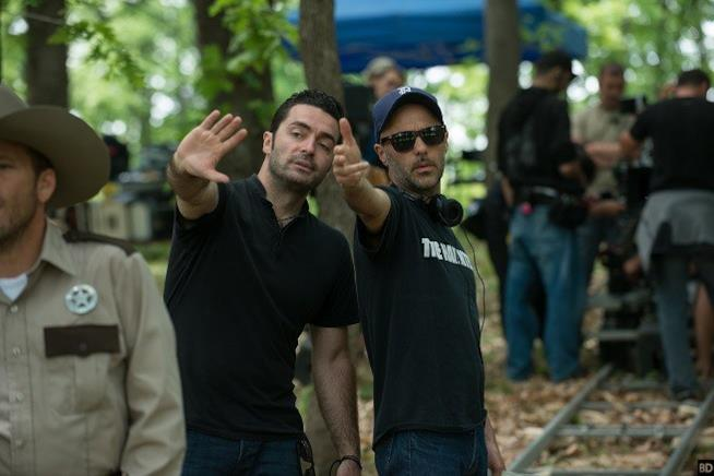 Alexandre Bustillo e Julien Maury sul set di Leatherface