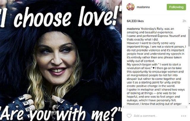 Il post su Instagram di Madonna