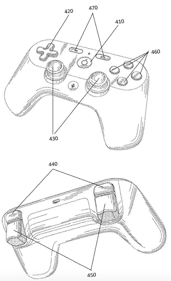 Immagine del controller inclusa nella descrizione di un brevetto di Google