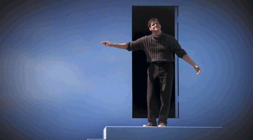 L'attore Jim Carrey in una scena del film The Truman Show