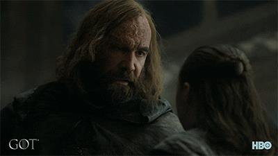 Rory McCann e Maisie Williams in Game of Thrones 8x05