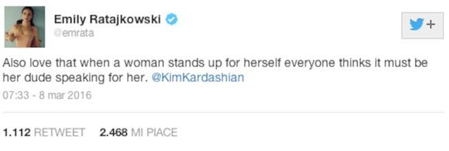Tweet di Emily Ratajkowski in difesa di Kim Kardashian