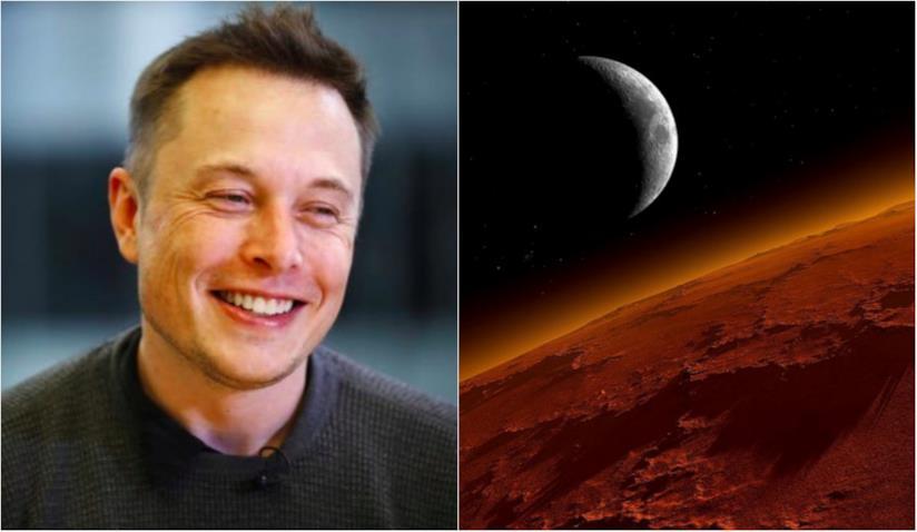 Elon Musk in primo piano e Marte