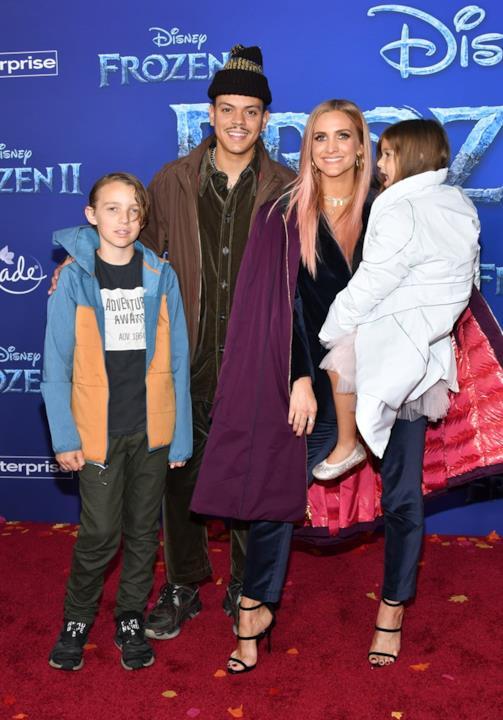 Bronx Wentz, Evan Ross, Ashlee Simpson e Jagger Snow Ross insieme alla prima di Frozen II