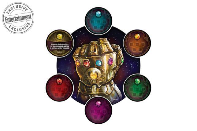 Il Guanto e le Gemme dell'Infinito su uno dei quadranti di gioco di Thanos Rising