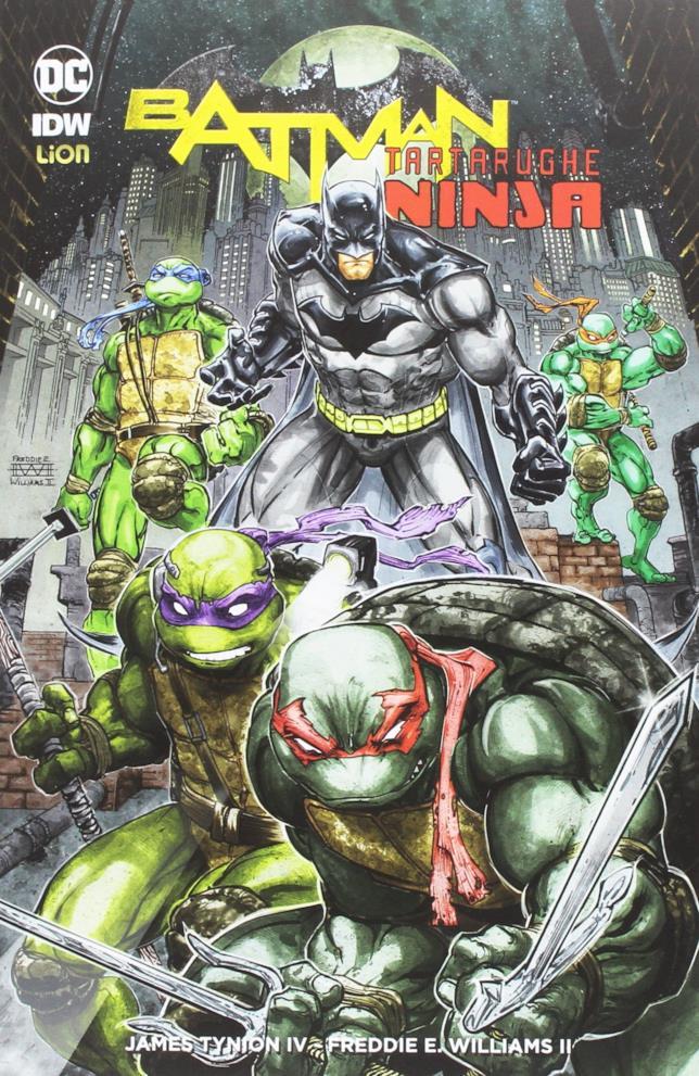 La copertina del fumetto Batman/Tartarughe Ninja