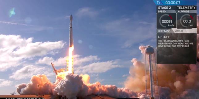 Fermo immagine del lancio di Falcon Heavy nello Spazio
